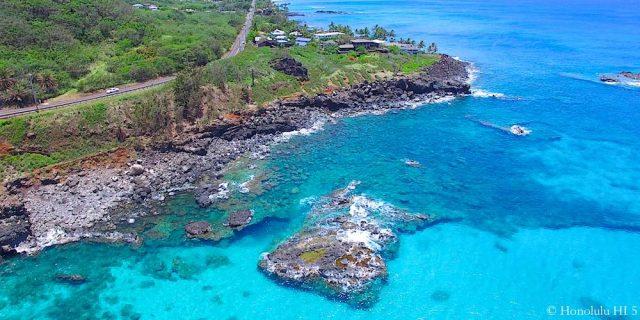 Waimea Ocean and Homes on Oahu's North Shore - Aerial Photo