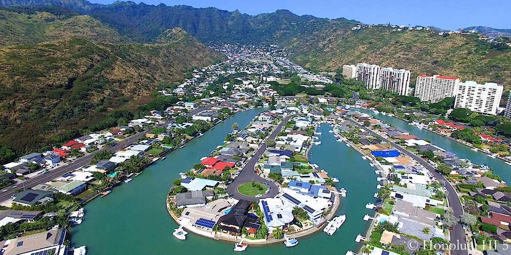 Hawaii Kai Waterfront Homes - Drone Photo